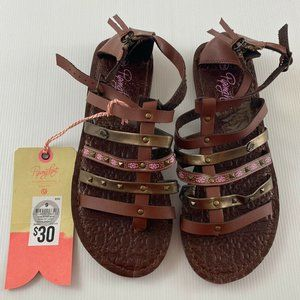 Piping Hot Brown Gladiator Sandal Shoes Size 9